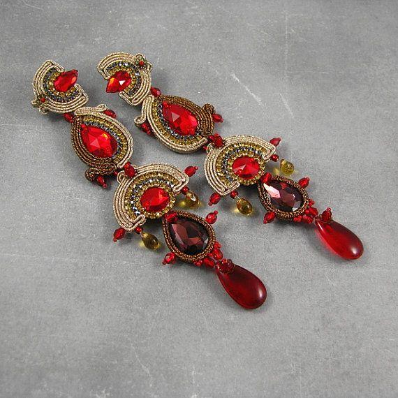 Long dangle soutache earrings AZTEC TREASURY от byPiLLowDesign