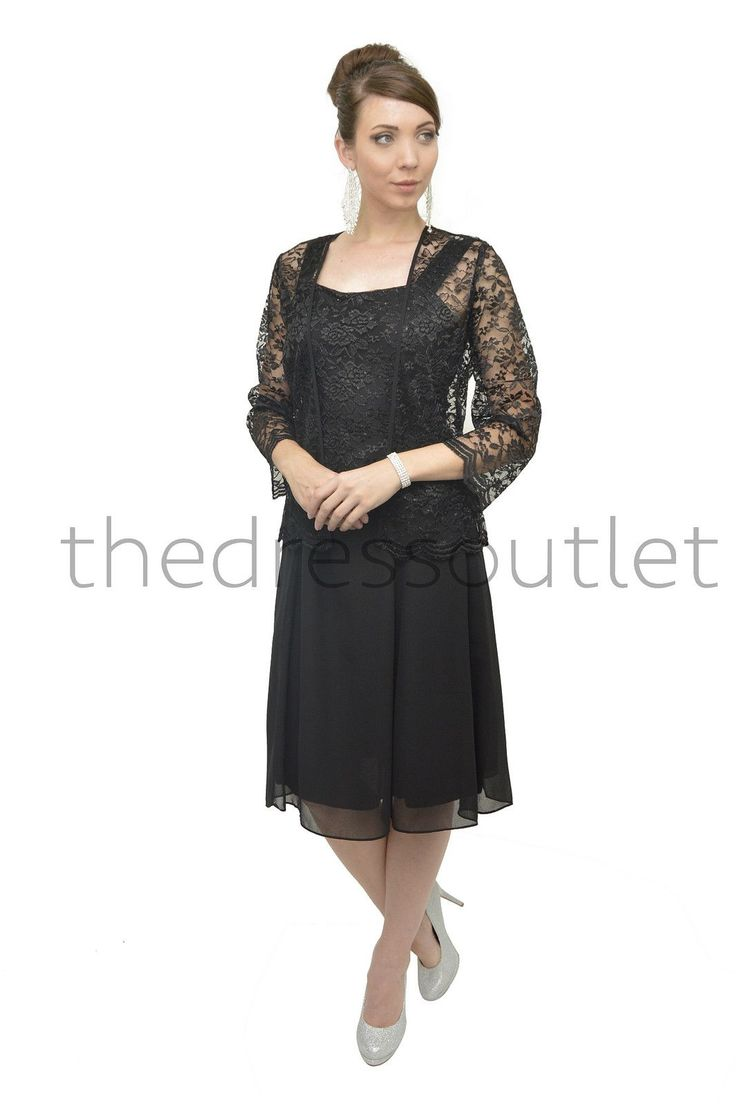 Short Mother of the Bride Dress with Jacket Plus Size Formal Cocktail - The Dress Outlet - 1