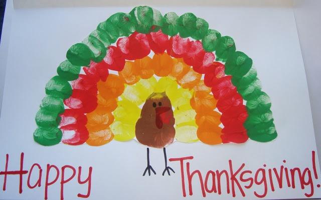 Thanksgiving Turkey Thumbprints. Kids handprint paint craft