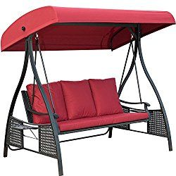 PatioPost Outdoor Swing Chair, Seats 3 Porch Patio Padded Swing Hammock  Glider With Steel Powder