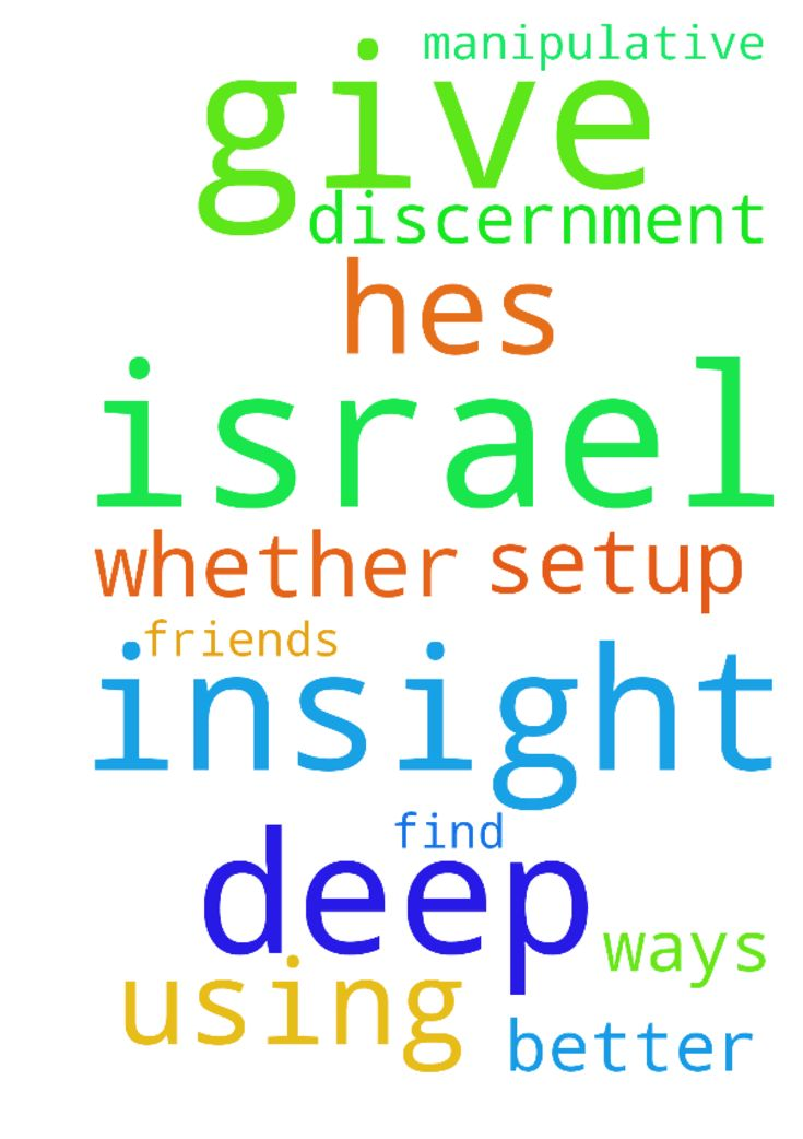 Christ please give me deep insight into Israel if he's - Christ please give me deep insight into Israel if hes using me or not or if its a setup. Christ please give me deep insight into Israel and whether or not hes using me. Please help me to find better friends. I pray for Israel and his manipulative ways. Please give me deep insight and discernment. Posted at: https://prayerrequest.com/t/R1C #pray #prayer #request #prayerrequest
