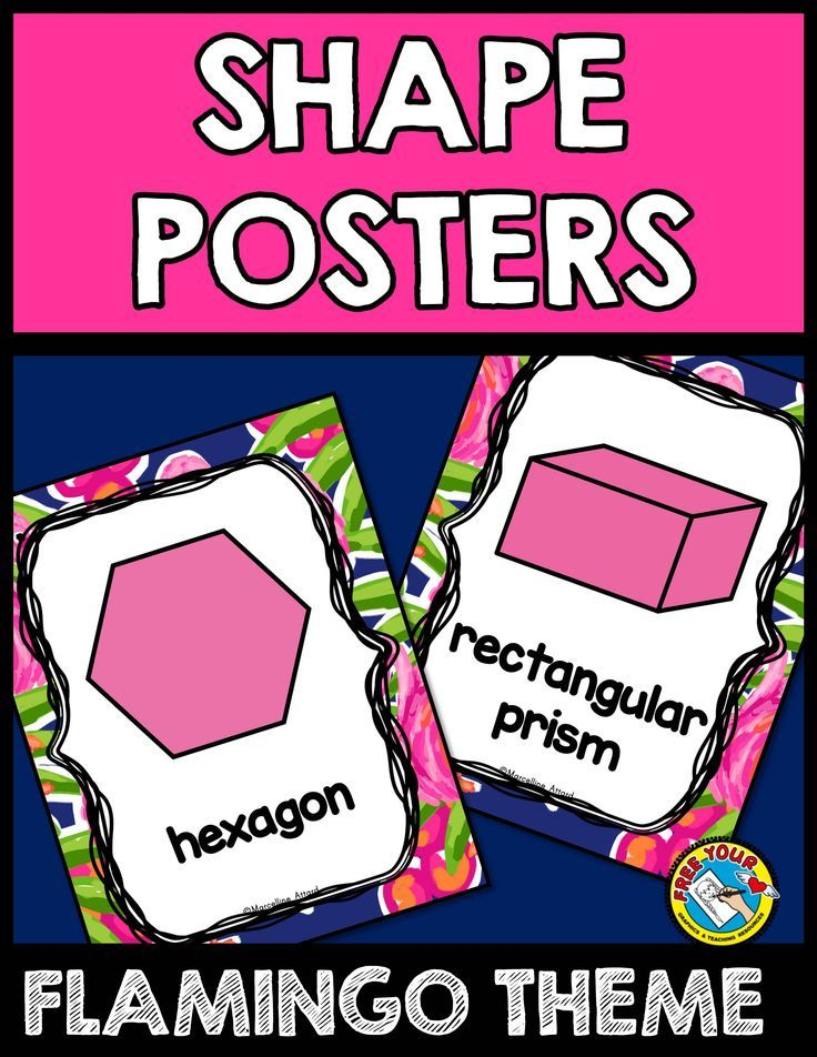 FLAMINGO THEME SHAPE POSTERS  This product contains 23 posters depicting pink 2D and 3D shapes. These are very useful in aiding children to grasp shapes and their names. Each poster also contains the word of each shape.