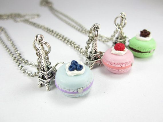 BFF Paris Macaron Necklace Friendship Necklace 3pcs food by fwirl, $20.00