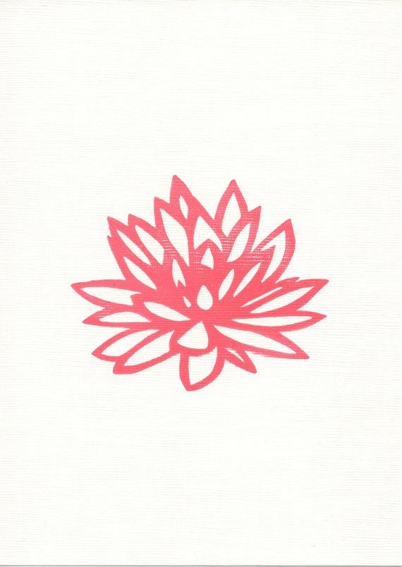 NEW Lotus Art Print  5 x 7  Hand Pulled Block Print by Creatiate