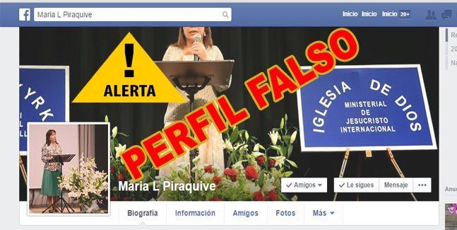 Alerta – Perfiles Falsos de la Hna. María Luisa P.