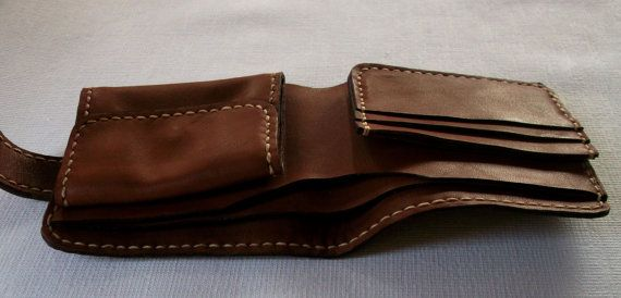 Handmade Leather Bifold Wallet Light Brown by AtHomeWorkshop-SR