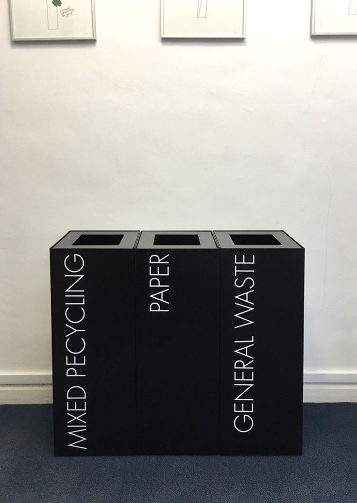 Office Recycling Bins Sorting TWO 50 Litre Square