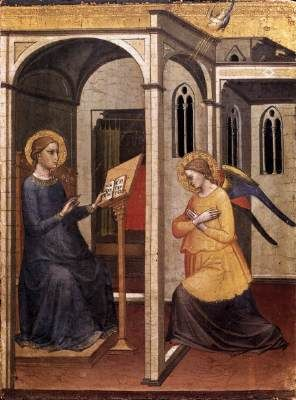 """MARIOTTO DI NARDO Annunciation  1395 Tempera on wood Pinacoteca, Vatican  """"The Angel of the Lord declared unto Mary...."""" These words echo the beginning of one of the biblical narratives of Jesus' conception and birth. The story of the archangel Gabriel announcing to Mary that she, though a virgin, was to give birth to the Messiah depicts in a few verses the reality and the functions of angels."""