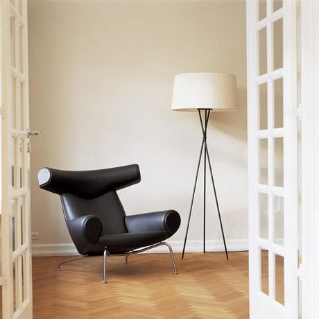 Good Fine Mod Imports Hans Wegner Ox Chair And Ottoman Black Leather