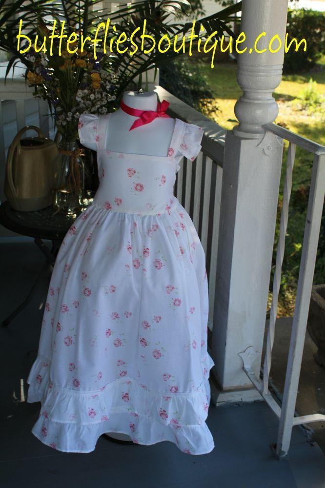 Handmade girls toddlers dress size 2-3T rose fabric shabby chic hippie boho styl #Handmade