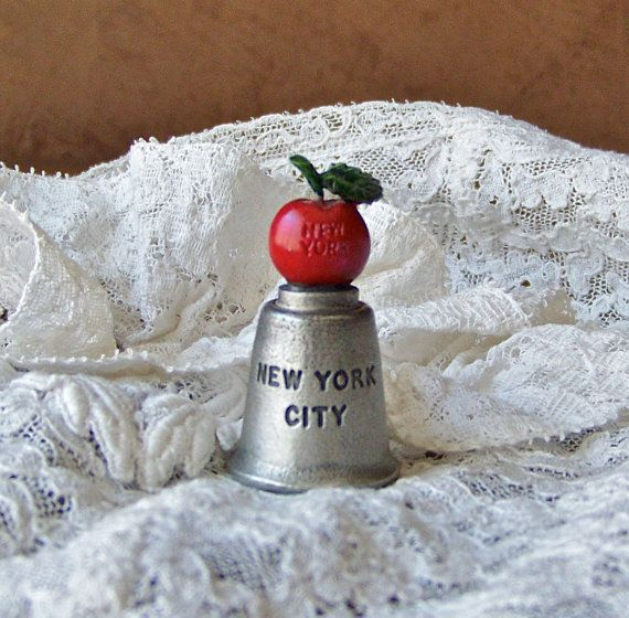 Vintage Big Apple Pewter Thimble by cynthiasattic on Etsy, $25.00