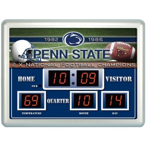 Penn State Nittany Lions Scoreboard by Team Sports America. $79.99. Always know the score with our exclusive, licensed Outdoor Scoreboard featuring your favorite team. Our weather resistant Scoreboard shows the time, date and temperature. Made of plastic, glass, and circuitry. The Scoreboards and their up to date logos and designs are a unique addition for the home, office or patio. NCAA Penn State Nittany Lions Scoreboard. Save 20% Off!