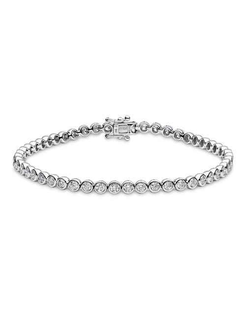 """Finecraft offers 18ct white gold rub over set round brilliant diamond """"tennis"""" bracelet POA. Visit Approveddiamonds.com or our store at Hatton Garden to place an order"""