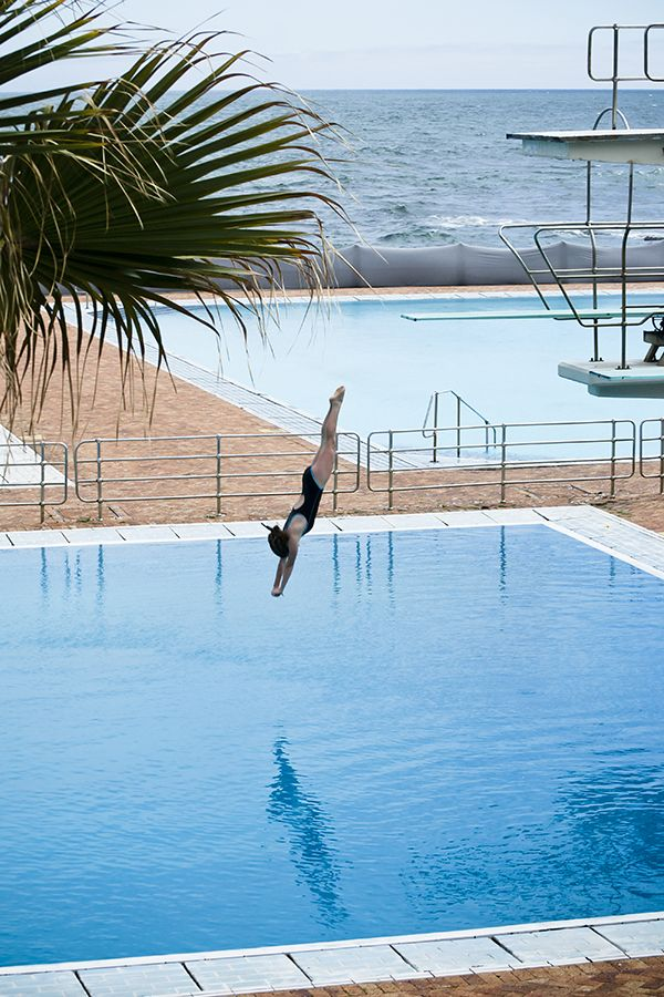 Swimming at the Sea Point swimming pool.