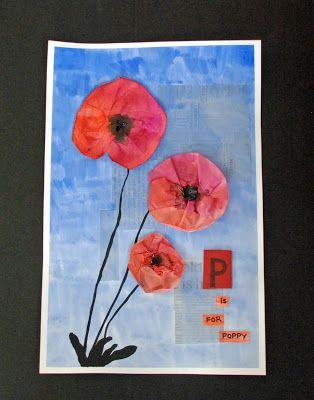 Poppy's voor te knutselen rond focusthema 5: De eerste wereldoorlog 1914-1918 http://www.thatartistwoman.org/2012/10/p-is-for-poppy-project.html