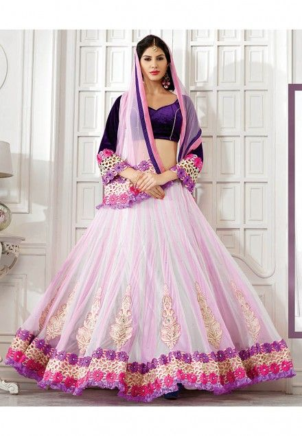 Off white Colored Net Lehenga Choli