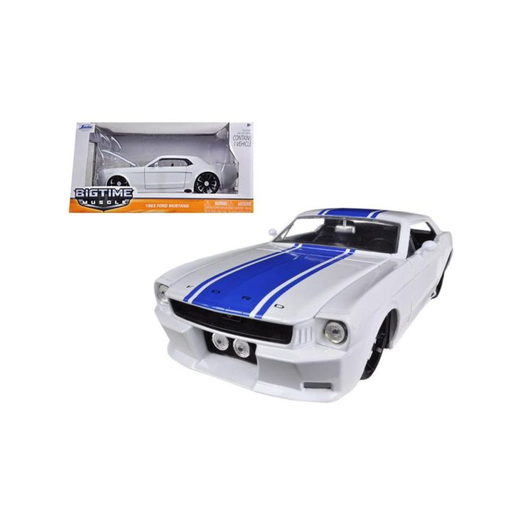 1965 Ford Mustang White With Blue Stripes 1/24 Diecast Car Model by Jada