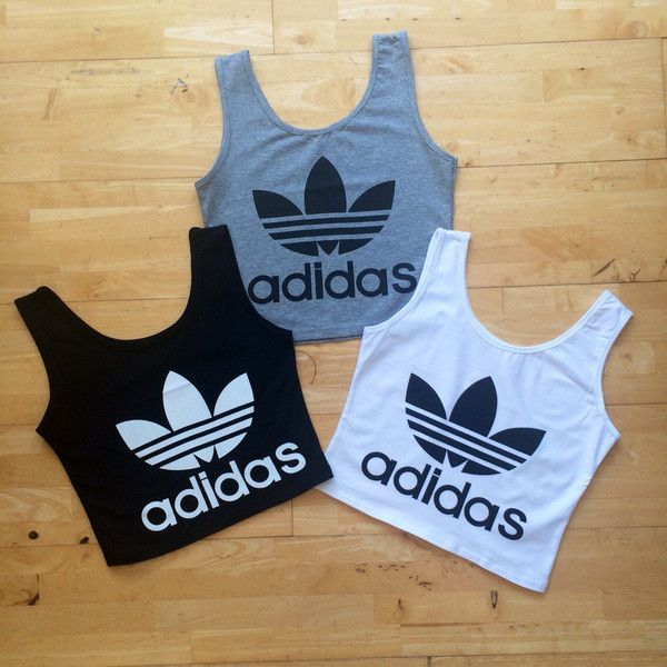 Adidas Style Vest Tank Crop Top Shirt Black White or Grey ($22) ❤ liked on Polyvore featuring tops, black, vests, women's clothing, grey vest, black shirt, white and black shirt, gray vest and black white shirt