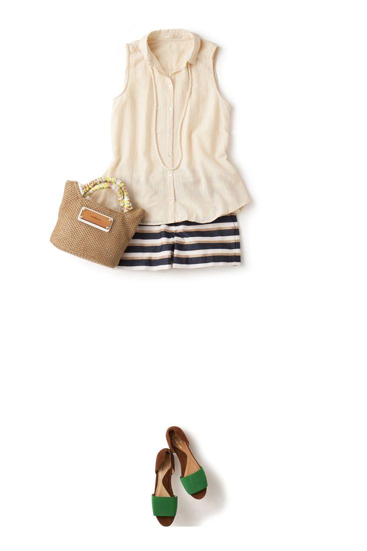 初夏から夏の着回しは、このノースリシャツにおまかせ! ― A