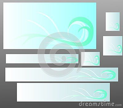 Vector blue abstract banner set.T