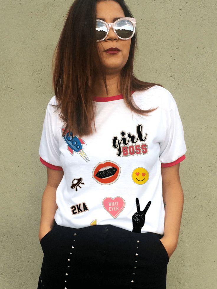 T-shirt Girl Boss Patches                                                                                                                                                                                 Mais