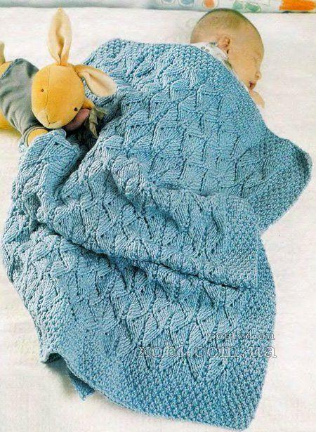 детское покрывало голубого цвета вязаное спицами