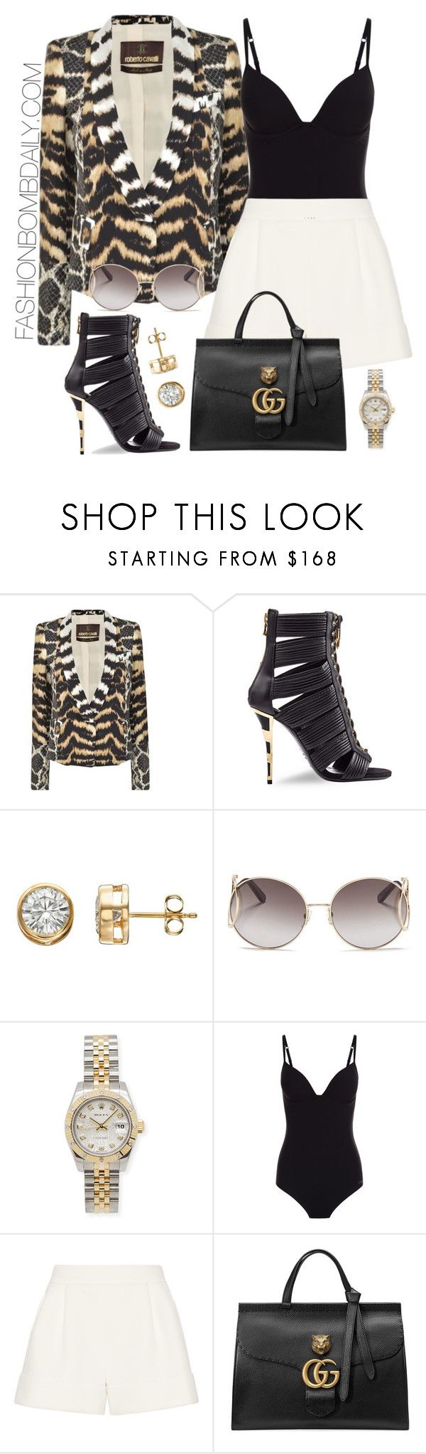 """""""Untitled #1939"""" by dnicoleg ❤ liked on Polyvore featuring Roberto Cavalli, Balmain, Chloé, Rolex, 3.1 Phillip Lim and Gucci"""