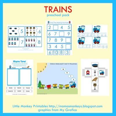 Train Preschool Pack from LittleMonkeyPrintables on TeachersNotebook.com -  (30 pages)