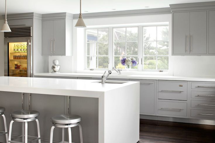 Kitchen With Modern Gray Kitchen Cabinets Paired With