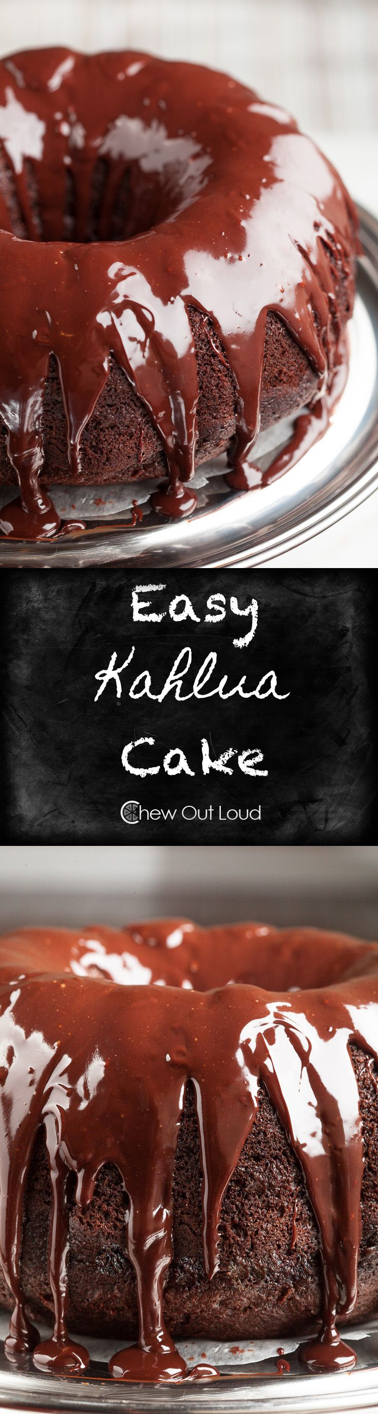 Easy Chocolate Kahlua Cake.  Low on time and need to impress?  Make this moist, chocolatey Kahlua cake.  Drizzled with velvety ganache.  Almost effortless. #holiday #dessert