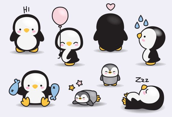 Premium Vector Clipart - Kawaii Penguins - Cute Penguins Clipart Set - High…