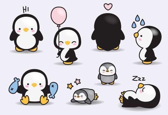 Prime Vector Clipart Kawaii pingouins par LookLookPrettyPaper
