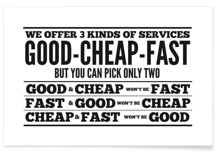 Good Cheap Fast als Premium Poster von Mr Cup | JUNIQE