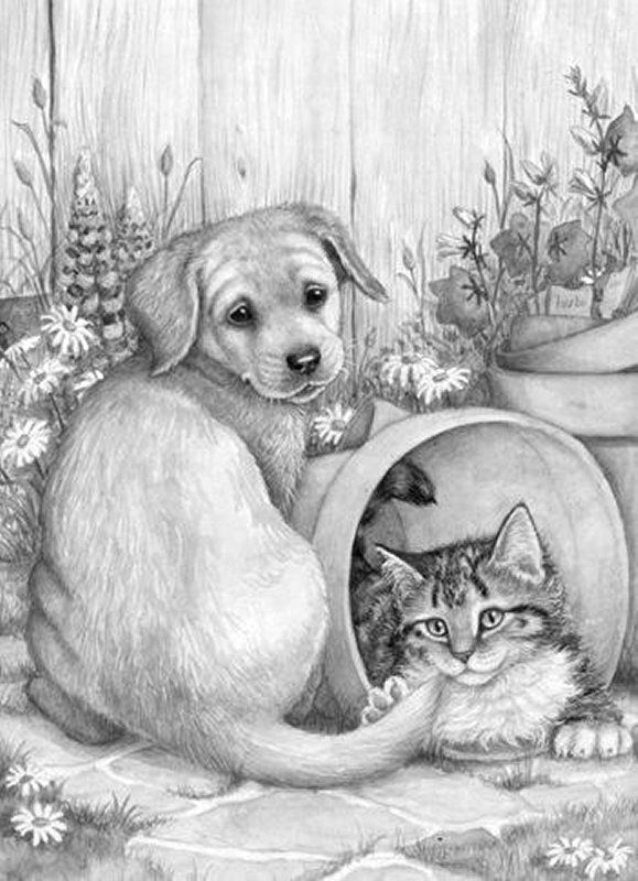 Puppy And Kitten Grayscale Coloring Dog Coloring Page Cat Art