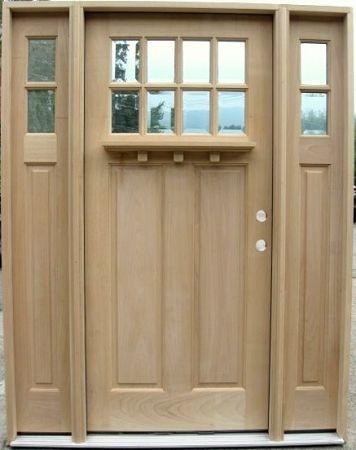 8 Lite Craftsman Style Door With Sidelights Optional Dentil Shelf