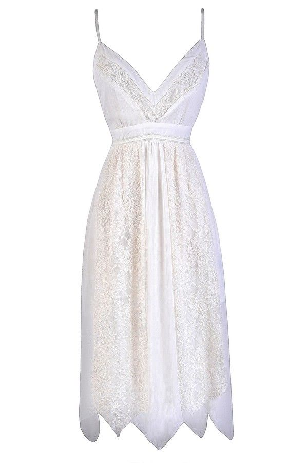 The Fairy Flutter Off White Lace Asymetrical Hem Midi Dress. It is made of a gauzy chiffon fabric and has a V neckline, spaghetti straps, an empire waist, and a flowy midi cut. Lace trims the bust and skirt of this dress, creating contrast.