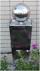 Outdoor Decor :: Water Features :: Stainless Steel Ball Water Feature on Stand -
