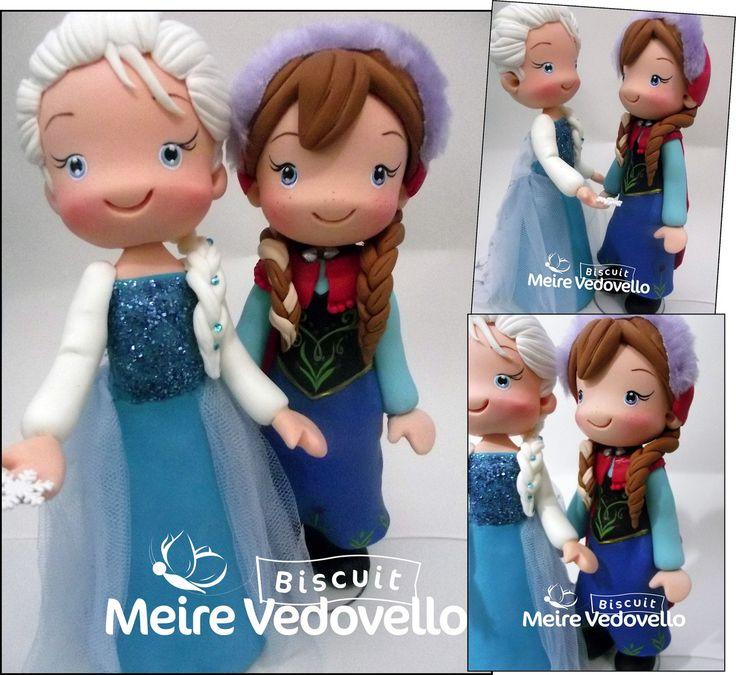 Boneca da Anna e Elsa personagem do filme Frozen . <br> . <br>Elas mede 25 cm de altura. ideal para enfeite de mesa ,mas faço elas a partir dos 15 cm para topo de bolo.