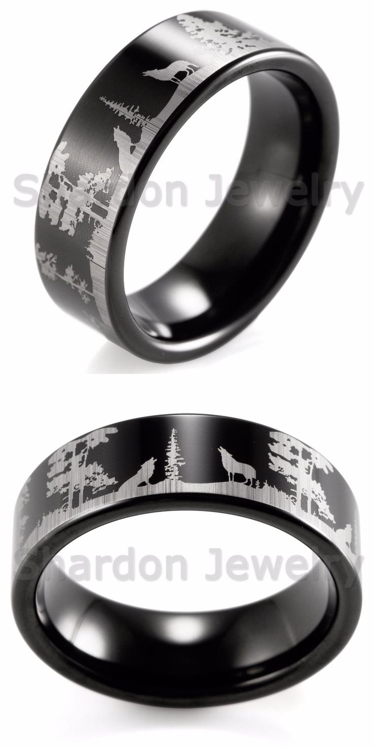 [Visit to Buy] SHARDON Animal Landscape Scene Wolf Wolves Ring Engraved Flat Black Tungsten Ring bague mens rings anillos anel #Advertisement