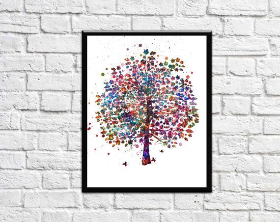 Tree Nature Love Watercolor Print Wedding Gift by DaniJArts