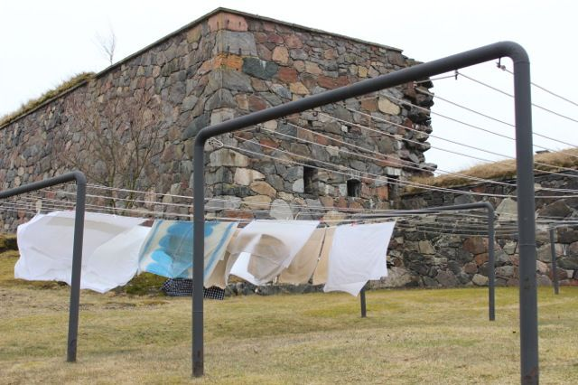 Sheets blowing in the wind at the Suomenlinna Sea Fortress in Finland.