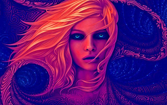 Lataa kuva art, fantasia nainen, muotokuva, siniset silmät