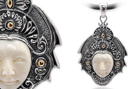 Gold & Silver pendant, bone carving, open eyes, bali motif. Medium Size 58x35 mm