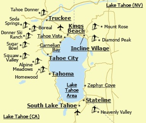Map Of Tahoe Beaches | Lake Tahoe (California): Vacation Rentals Lake Tahoe (California ...