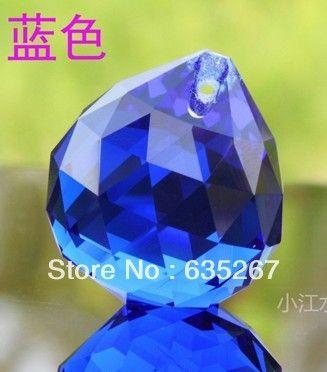 4 шт./лот, Синий цвет, 40 мм кристалл граненные мяч, Хрустальная люстра мяч части для свадьбы и фэншуй продукты, X-mas украшения