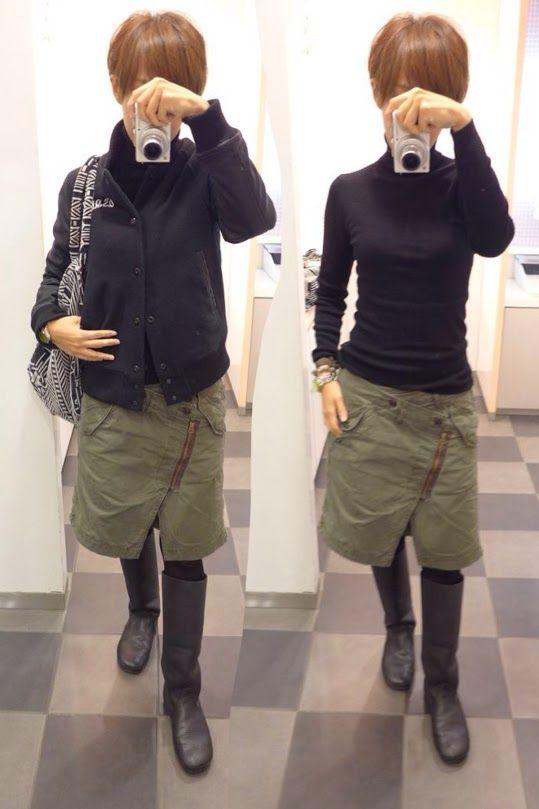尖ったデザインの変形スカートだから色はカーキと黒のベーシックカラー  Outer/G-STAR RAW Knit/MUJI Bottoms/Johnbull Bag/DIESEL Shoes/KOOS  Today is the basic color coordination of khaki and black.  MUJIのタートルニットは程よいサイズ感で着やせ効果絶大