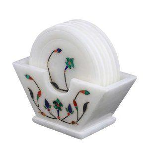 Lot de 6 sous-verres et rangement en albâtre motifs fleurs: Amazon.fr: Cuisine & Maison