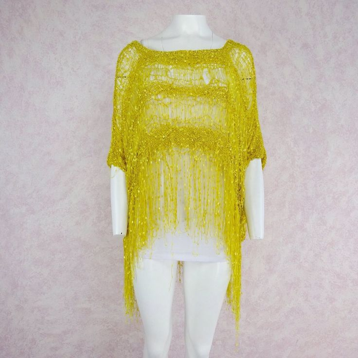 2000s Yellow Open Weave Poncho, NOS, Front