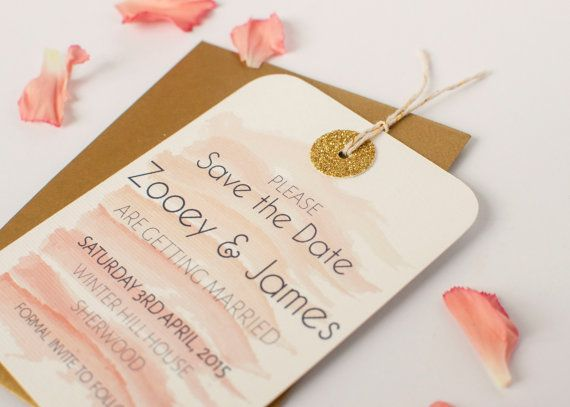 watercolour and gold glitter save the date tag  by normadorothy, £1.60