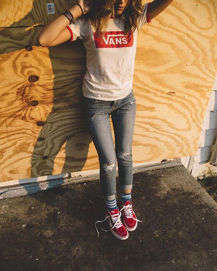 Red, White & VANS. Shop the V-Tangle T-Shirt at vans.com. #regram via @_mrain, photo by @sougphoto #vansgirls